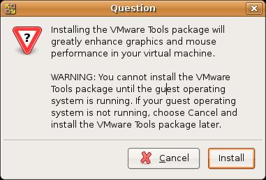 Start VMWARE Tools installation