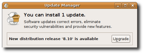 Message Informing you of the availability of the new 8.10 release
