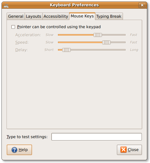 Gnome: Keyboard preference tool to control mouse key