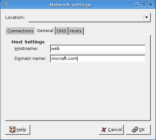 Linux setting hostname and domain name of my server