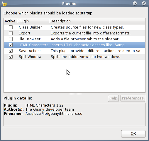 Fig.03: Geany IDE Plugins