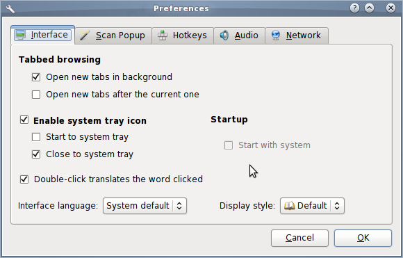 Preferences options