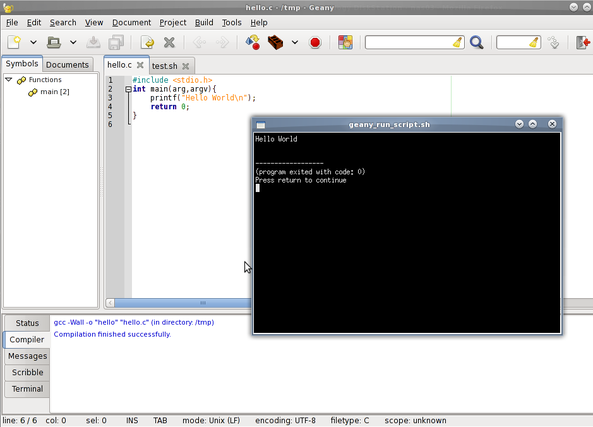 Fig.02: Geany IDE: hello.c - build and executed program