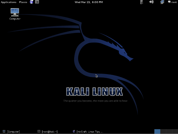 Fig.01: Kali Linux desktop