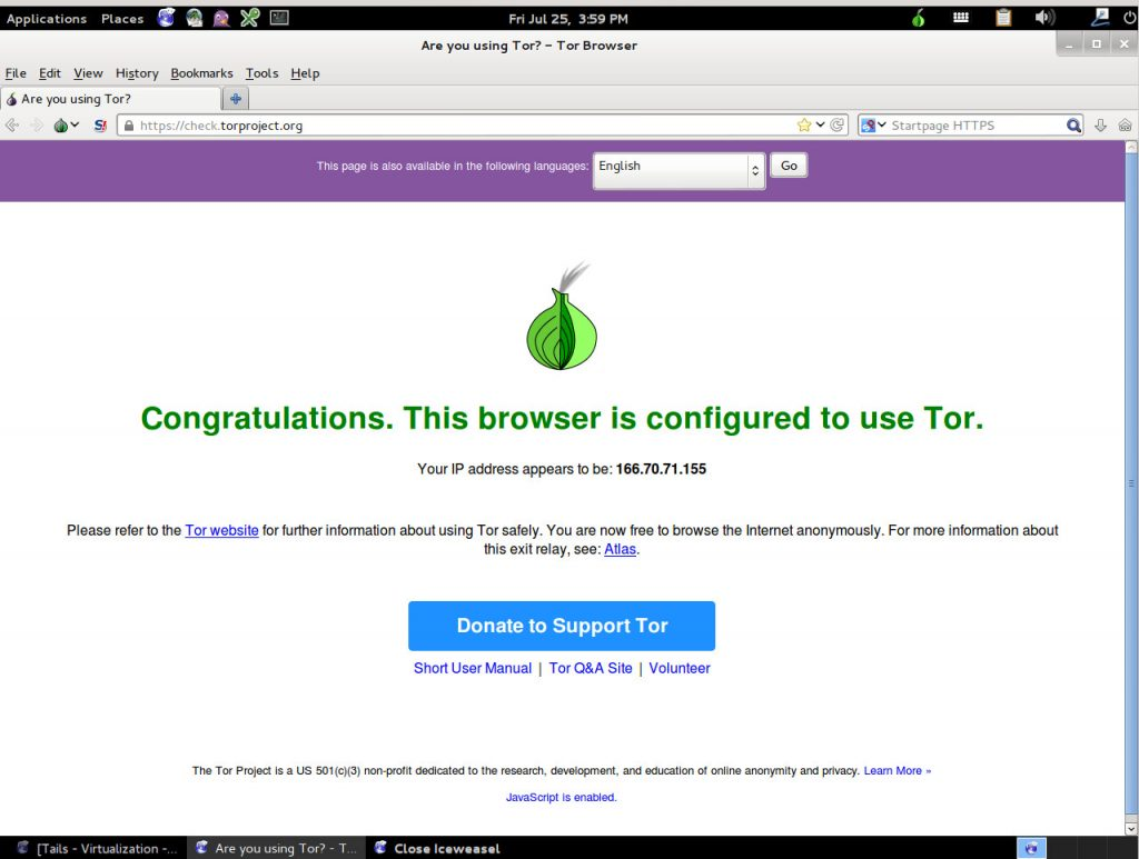 Verify that browser has been configured to use tails