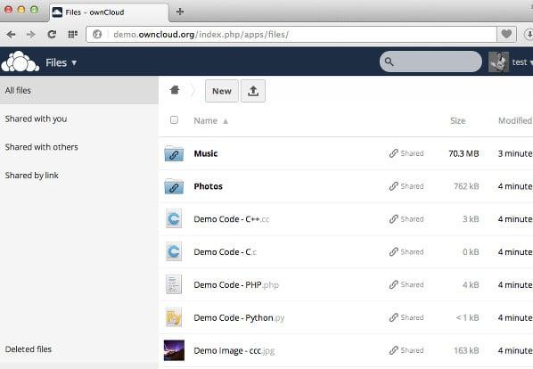 owncloud  web client