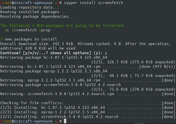 How to instsll screenfetch on OpenSUSE Linux using zypper