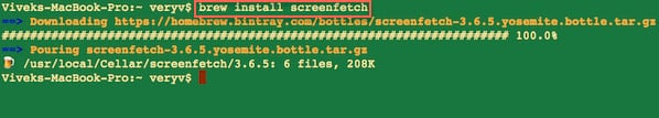 Fig.02: Installing screenfetch using brew command