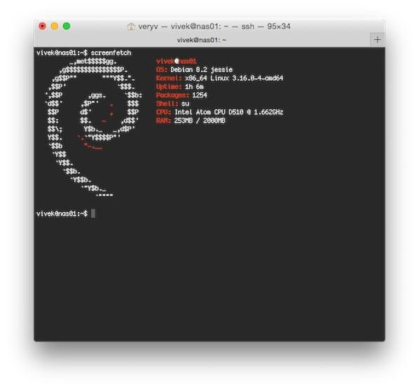 Screenfetch on Debian Linux