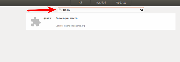 Search for gsnow on Gnome Linux desktop