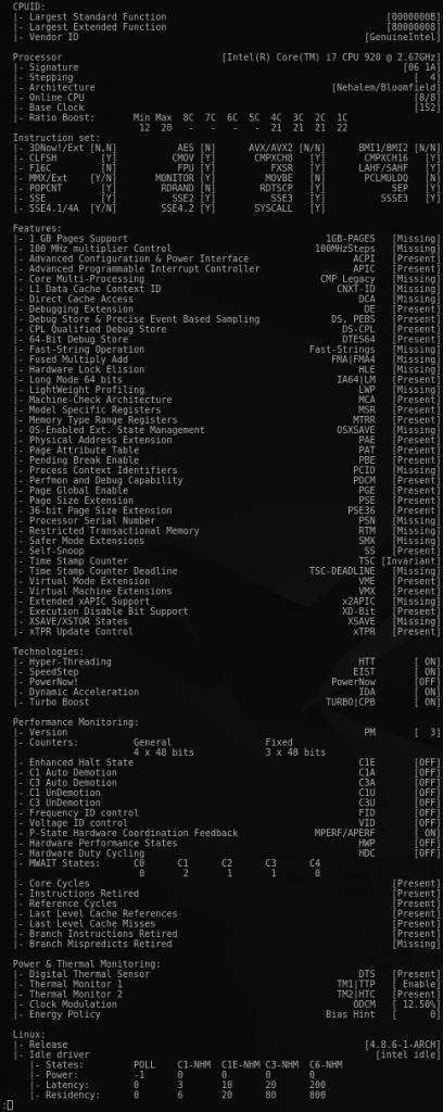 Fig.03: Show Processor information (BSP)