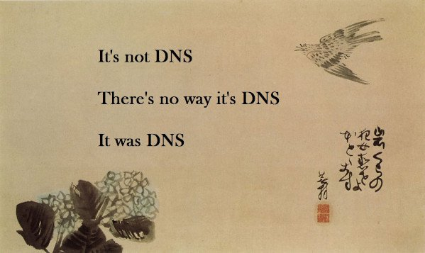 It's not DNS. There is no wayit's DNS. It was DNS