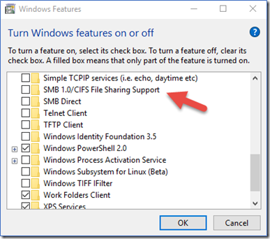 Fig.01: Disable SMB v1.0 on MS-Windows