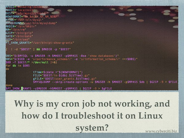 Why is my crontab not working, and how do I troubleshoot it on Linux?