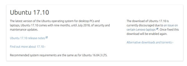 Ubuntu 17 10 no longer available for download due to LENOVO