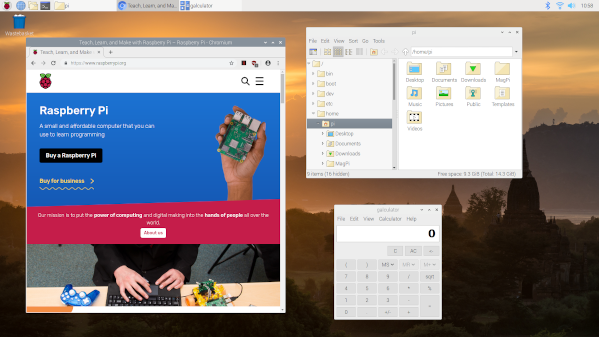 Raspberry PI 4 with Raspbian Buster desktop running Chromium web browser