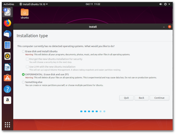 Ubuntu 19.10 Eoan installer zfs choice