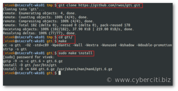 Compile and install gti on Linux