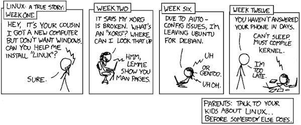 XKCD comic about cautionary tell of Linux desktop user