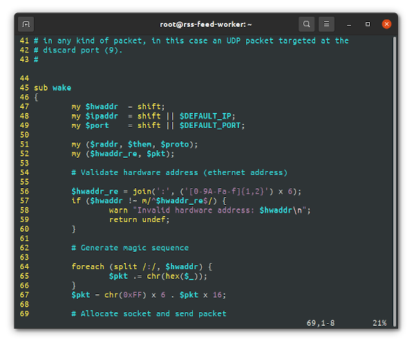 Vim text editor running on Linux