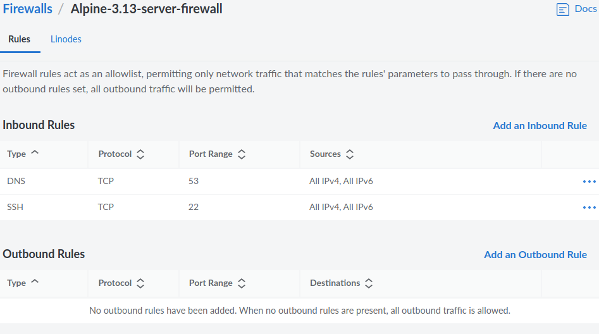 Linode Clouid Firewalls Inbound and Outbound Rules