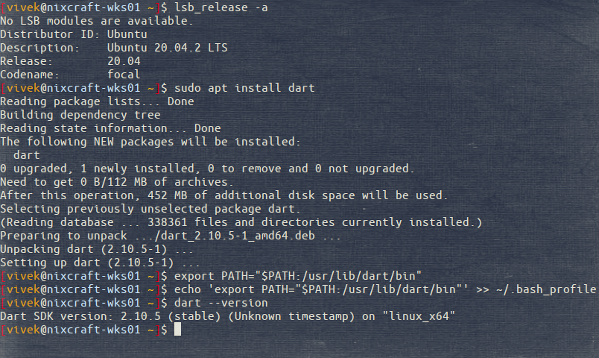 How to install Dart Programming Language SDK on Ubuntu or Debian Linux