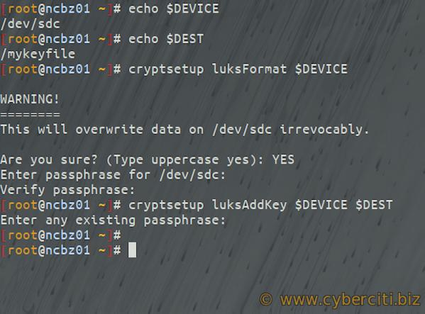 Adding both backup passphrase and key file using cryptsetup on Linux LUKS hard disk