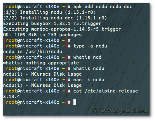 How to install ncdu on Alpine Linux using apk command
