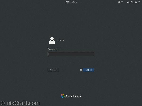 AlmaLinux Linux desktop login