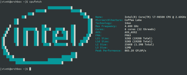cpufetch is an awesome CPU architecture info tool for Linux and macOS