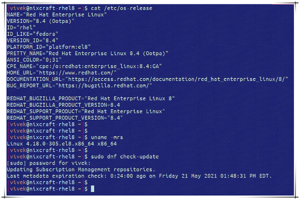 RHEL 8.4 released and my box updated to 8.4 from 8.3 using dnf