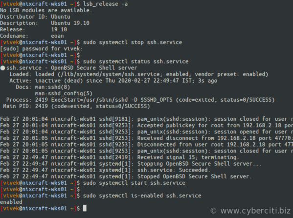 Debian and Ubuntu Linux Start and Stop the SSHD Server command