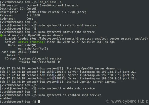 RHEL or Fedora or CentOS Linux start sshd command