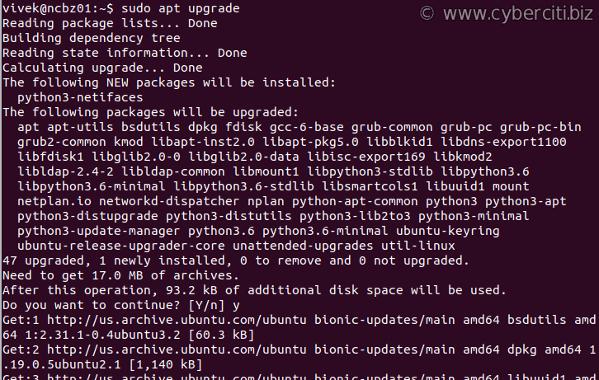 Ubuntu software update command line terminal option