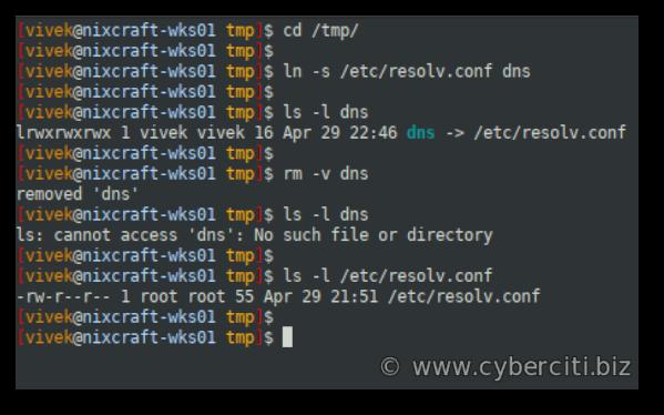 Linux Delete Symbolic Link Command