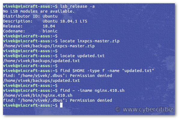 Linux command find a file on my system
