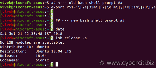 Linux Bash Change The Color of Shell Prompt Via PS1