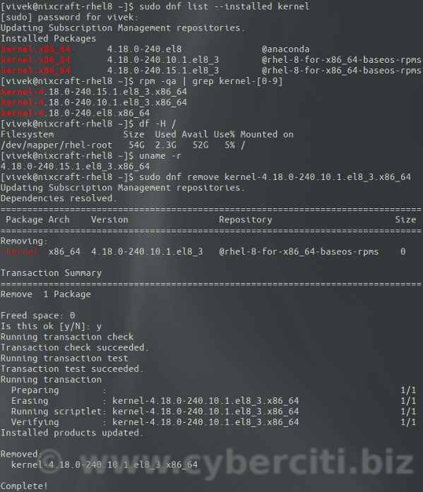 How to Linux delete or remove kernel command