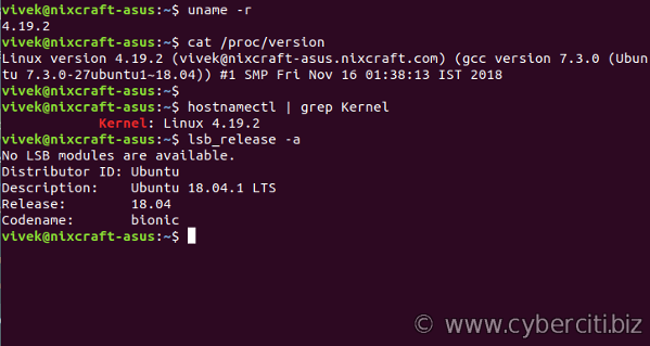 Find Linux Kernel Version Installed On My System