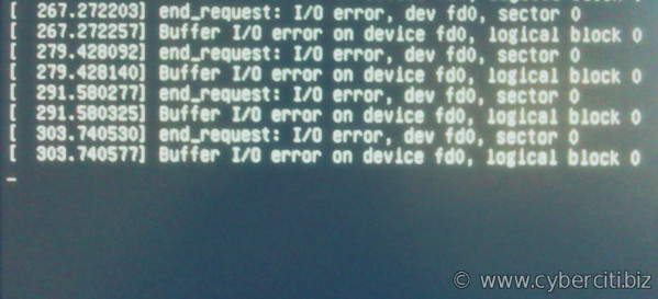 Buffer I/O error on device fd0, logical block 0 end_request: I/O error, dev fd0, sector 0