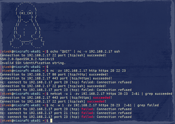 How to port scanning with netcat or nc command on Linux and Unix