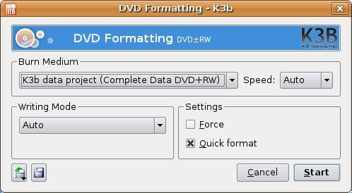 Linux blanking / formatting CDRW CD / DVD Media  using K3B