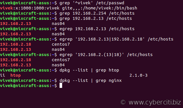 grep command examples for Linux and Unix users