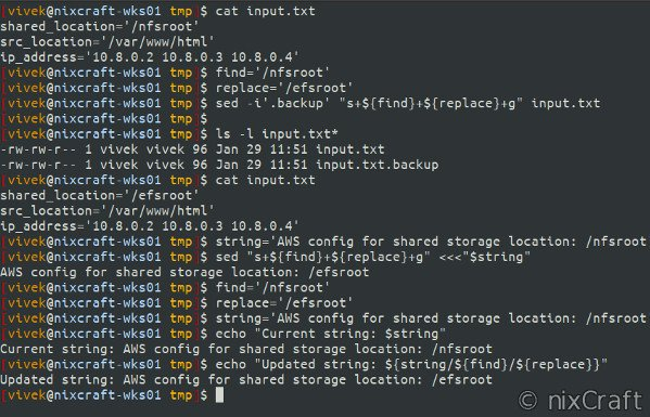 Replace one substring for another string in shell script