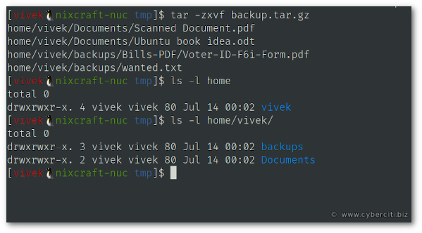 Extract tar gz File in Linux or Unix using tar - nixCraft