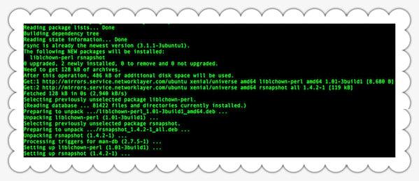 Fig.01: Installing rsnapshot using apt-get command