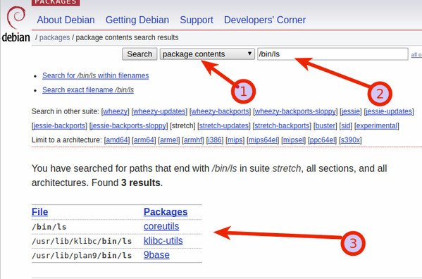 Debian Linux find the package that provides a file