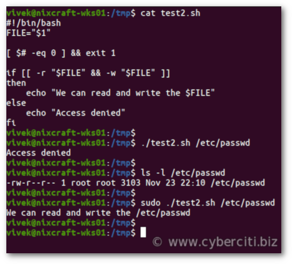 Linux BASH Shell Test If a File Is Writable or Not