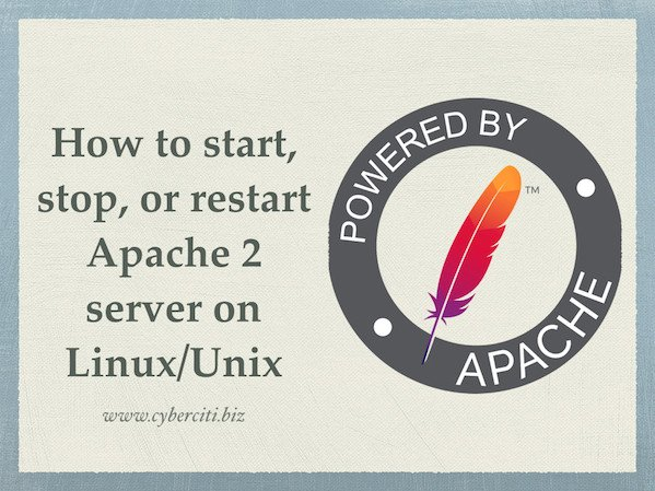 How to start/stop/restart Apache 2 server on Linux/Unix?