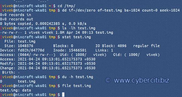 Unix Create Large 1GB Binary Image File With dd Command